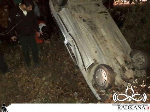 تصادف در محور پارک جنگلی کردکوی و واژگونی پراید/تصاویر